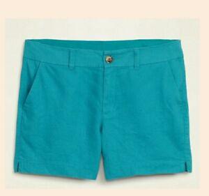 Old Navy Women's Linen Blend Shorts Teal Print Size 14