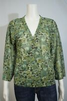 New York & Co Misses SMALL Green Floral Sheer Surplice Cross Over Blouse Shirt