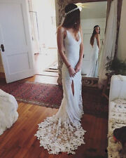 2017 New Spring Bohemian White Ivory Lace Wedding Dress Bridal Gown Custom Size