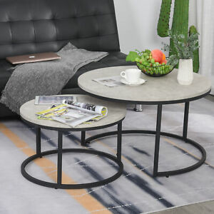 2 Pcs Stacking Coffee Table Set w/ Steel Frame Marble-Effect Top Foot Pads Home