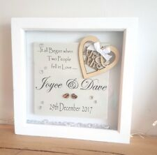 BOX FRAME WEDDING MR & and MRS PERSONALISED GIFT with Acrylic Crystals ref BB