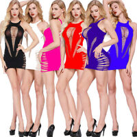 Womens Transparent Hollow out Bodystockings Bodycon Sexy Underwear Dress Z