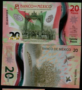 MEXICO 20 Pesos NATIONAL INDEPENDENCE 06/01/2021 serie AD82809XX Pick-New UNC