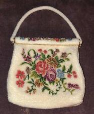 Vintage Floral Seed Pearl Beaded Petit Point Purse Evening HandBag