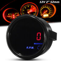 2'' 52mm 0-9000RPM Tachymètre Tacho Jauge Compte-tours Digital LED Rouge Auto