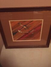 "2360) Leo Thompson Signed Watercolor ""DOGFIGHT"" Framed 18"" X 16"" WWI Biplanes"