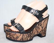 NWT ZARA BASIC Wo's 8 Black Leather & Lace High Heel Wedge Platforms 6524