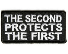 THE SECOND PROTECTS THE FIRST EMBROIDERED IRON ON BIKER PATCH
