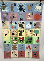 Unique VTG HAND CRAFTED FOLK ART APPLIQUÉ QUILT Antique ABC Alphabet Story Throw