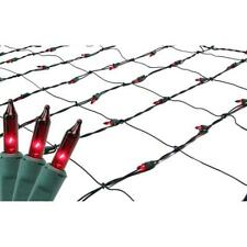 4' x 6' Red Mini Incandescent Christmas Net Lights - Green Wire w