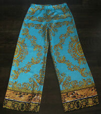 WOMENS BEAUTIFUL DESIGNER LIKE PRINT PANTS TURQOUISE BLUE GOLDEN BLACK LEOPARD