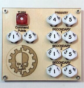 Deluxe game tracker, suitable for Warhammer 40k, multiple designs with dice