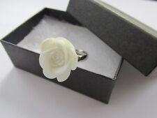 Handmade Unusual Pretty White Rose Flower Dress Charm Fashion Ring ~ Gift Boxed