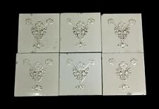 Antique White Floral Tile Set with Gold Detail