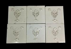 Antique White Floral Tile Set with Gold Detail