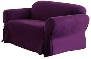 "Purple Micro Suede Classic Sofa Slipcover | Fits 74""-96"" Couch 