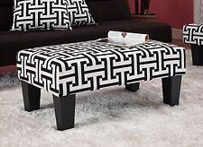 Kebo Ottoman Black and White Geometric Pattern
