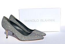 NEW Manolo Blahnik BB Fabric Glitter Pumps 39   US9