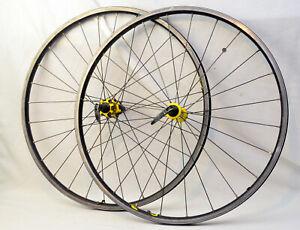 "Vintage Mavic CrossRide Wheelset Yellow 26"" MTB Bike V-Brake Front/Rear Wheels"