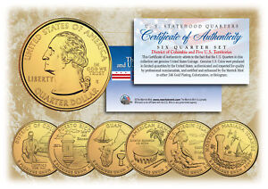2009 DC US TERRITORIES Quarters 24K GOLD PLATED 6-Coin Set STATEHOOD w/Capsules