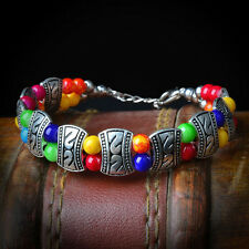 Hot Fashion Tibetan Tibet  Silver Jewelry Colors Beads Bangle Chain Bracelets