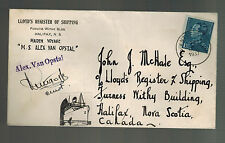 1937 Belgium SS Alex Van Opstal Maiden Voyage Ship Cover to Canada