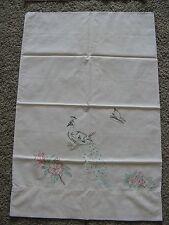 5 Vintage stamped pillowcases ready to finish Flamingos  Peacocks Kitten