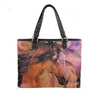 HORSE & WESTERN LADIES WOMENS MONTANA WEST LAURIE PRINDLE HORSE ART HANDBAG c