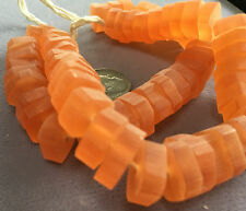 """16"""" Strand Beadsmith Square Frosted Resin Bead Slices 15mm SALMON PINK"""