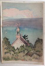 JEAN LÉBÉDEFF Aquarelle Ancienne Paysage Chapelle Saint-Efflam Bretagne 1913 #31