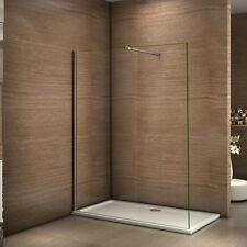 Paroi de douche 130x200cm 10mm verre trempé anticalcaire avec Barre de douche U