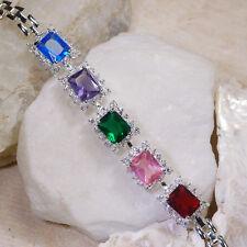 "30Ct Emerald Sapphire Amethyst Ruby White Topaz Silver Bracelet 7"" Gbr193"