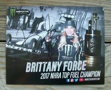 NHRA Brittany Force Monster Energy Signed Autographed Hero Event Card Sign Nitro