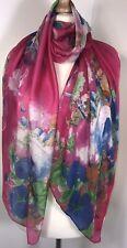 Pink Silk Scarf Pashmina Fushia Pink Blue Florals Silky Soft Oversized Long NEW