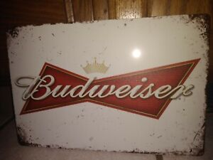 New Budweiser Bowtie Beer Tin Metal Sign Anheuser Busch Old Logo 8 x 12 inch