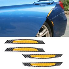 4pc Carbon Fiber Yellow Reflective Side Door Edge Trim Protection Guard Stickers