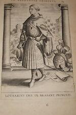 GRAVURE BELGIQUE LOTHARIUS IMP BRABANT VEEN COLLAERT 1623 OLD PRINT R974