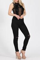 Womens Flock Mesh Sleeveless Sleeve Bodysuit Ladies Sheer Bodysuit Top Black