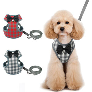 Pet Bowtie Harness Leash set for Small Medium Dogs Cats Mesh Walking Plaid Vest