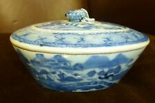 Vintage old pottery ceramic Large Chinese hand painted Blue & white lidded dish