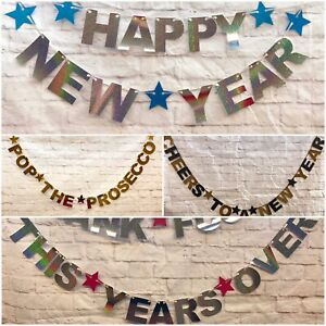 Happy New Years eve banners 2021 party decorations bunting gold silver