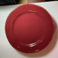 Home Dinner Plates Set of 2 With Tags Italy Maroon Rope Braid Edge