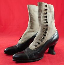 Vintage Unworn Victorian Two Tone Gray Suede Black Leather High Top Button Boots