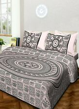 Indian White Elephant Mandala Tapestry Cotton Bedspread Wall Hanging Queen Boho
