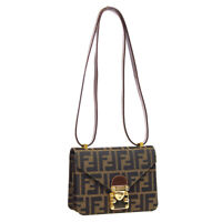 FENDI Zucca Pattern Cross Body Shoulder Bag Purse Brown Canvas Leather 40007