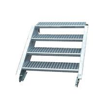 Stahltreppe Treppe 4 Stufen / Stufenbreite 80cm / Geschosshöhe 55-85cm verzinkt