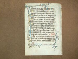 RARE Illuminated Manuscript Vellum Psalter Leaf w/ Bird, ENGLAND, c.1350