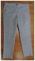 NEW Women's WILLI SMITH Navy Blue White Cotton Stretch Ankle Pants Size 10