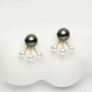 Black Tahitian Pearl&Akoya Saltwater Pearl Earrings 18k Yellow Gold