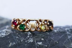 10K Yellow Gold Mother's Ring - Size 6 - Peridot, Ruby, Amethyst, Emerald